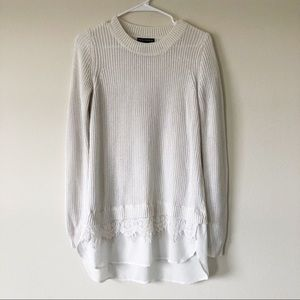 Chelsea & Theodore White Knit Extra Long Sweater